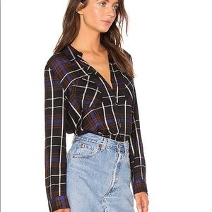 L'Agence Denise Contrast Back Shirt in Black Plaid